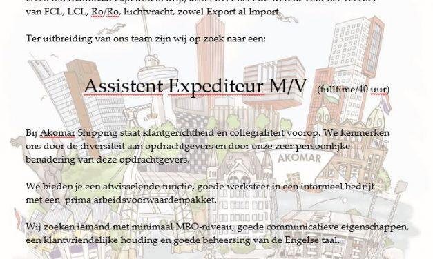 Akomar Shipping BV zoekt met spoed assistent expediteur M/V